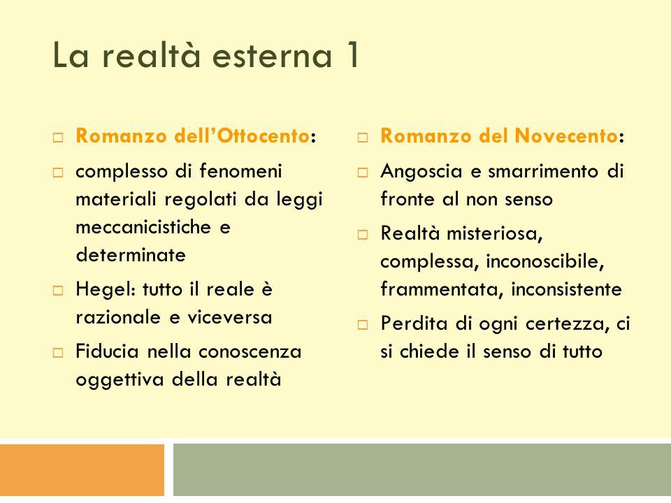 La realtà esterna 1 Romanzo dell'Ottocento: