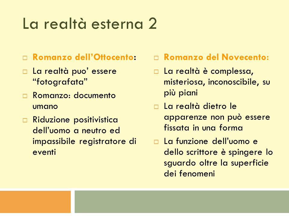 La realtà esterna 2 Romanzo dell'Ottocento: