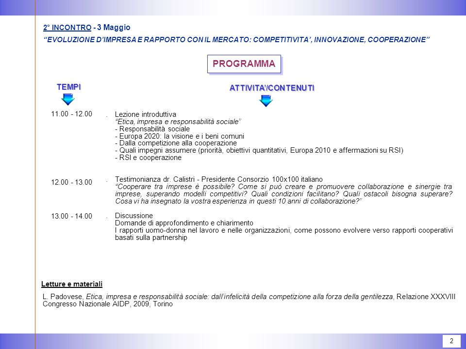 PROGRAMMA TEMPI ATTIVITA'/CONTENUTI 3° INCONTRO - 10 Maggio