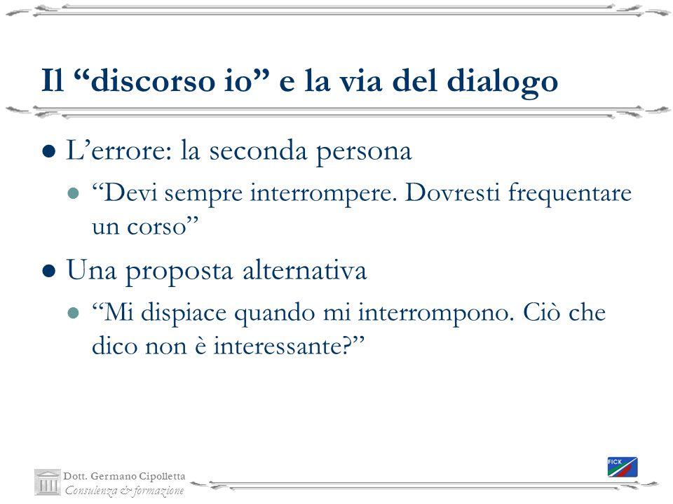 Il discorso io e la via del dialogo