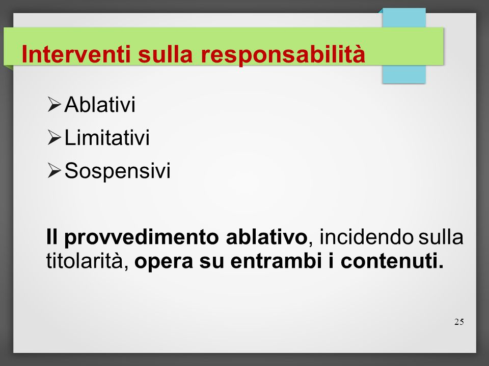 Interventi sulla responsabilità