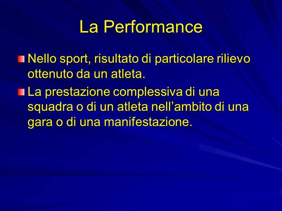 La Performance Nello sport, risultato di particolare rilievo ottenuto da un atleta.