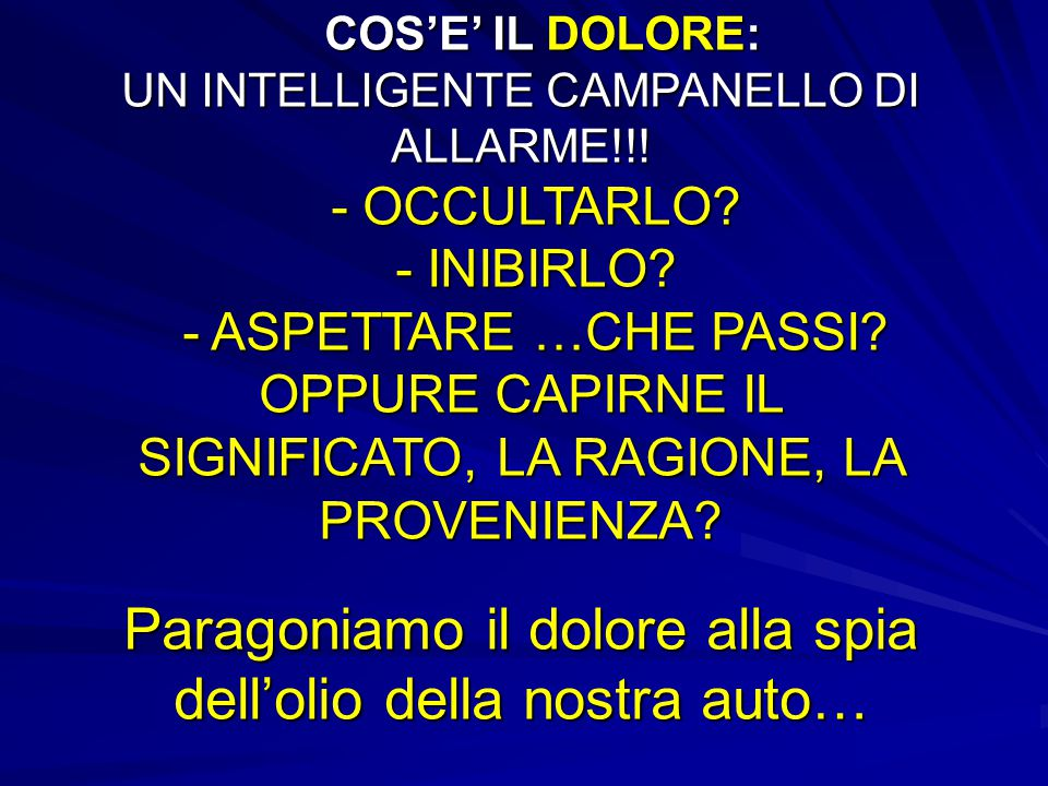 COS'E' IL DOLORE: UN INTELLIGENTE CAMPANELLO DI ALLARME. - OCCULTARLO