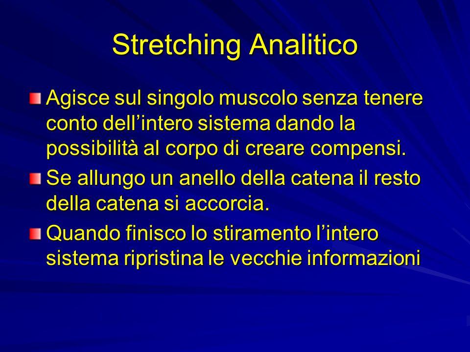 Stretching Analitico Agisce sul singolo muscolo senza tenere conto dell'intero sistema dando la possibilità al corpo di creare compensi.