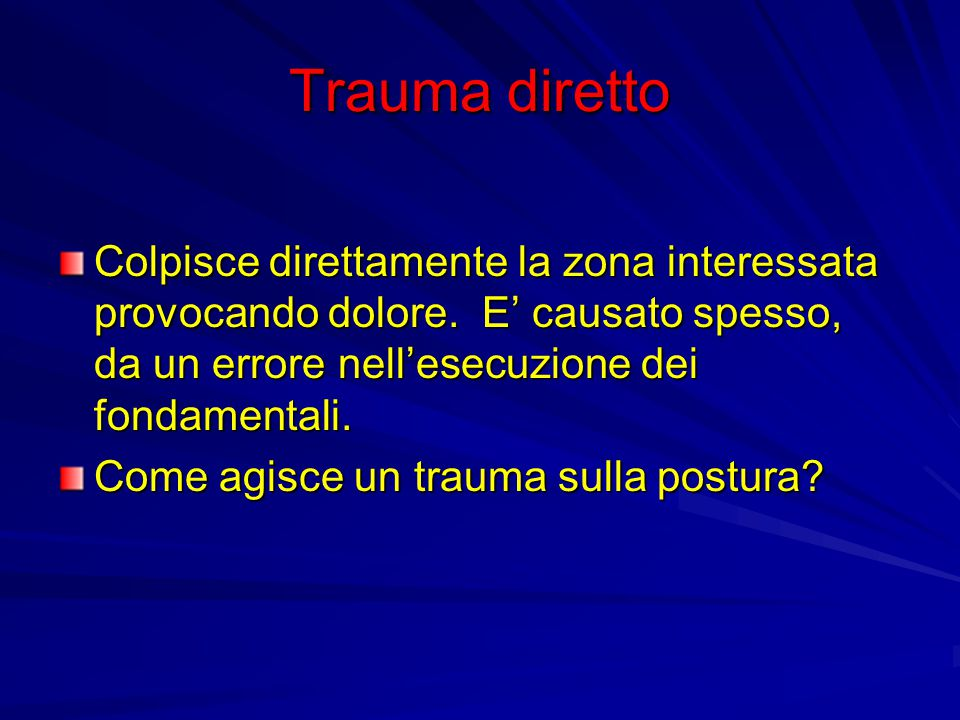 Trauma diretto Colpisce direttamente la zona interessata provocando dolore. E' causato spesso, da un errore nell'esecuzione dei fondamentali.