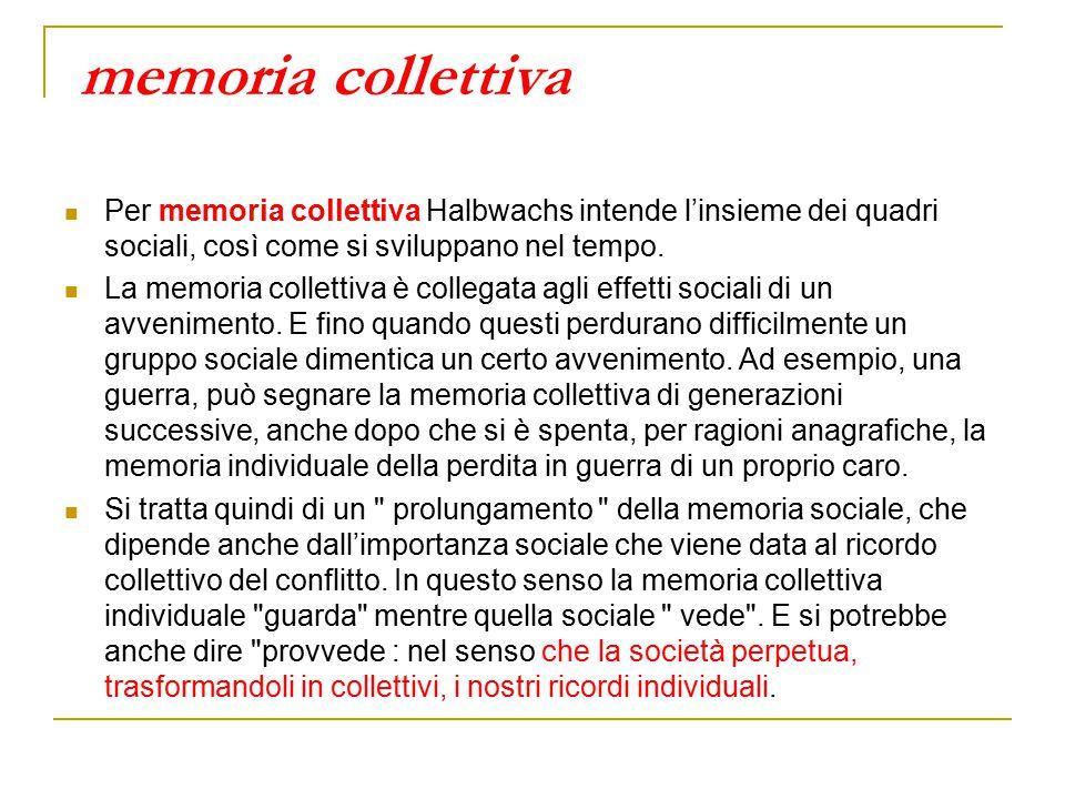 memoria collettiva Per memoria collettiva Halbwachs intende l'insieme dei quadri sociali, così come si sviluppano nel tempo.