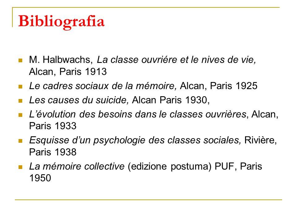 Bibliografia M. Halbwachs, La classe ouvriére et le nives de vie, Alcan, Paris 1913. Le cadres sociaux de la mémoire, Alcan, Paris 1925.
