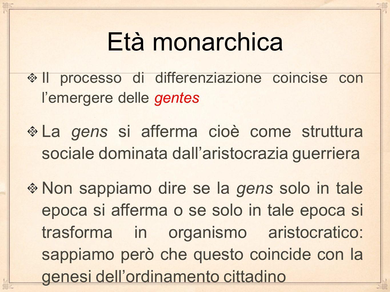 Età monarchica Il processo di differenziazione coincise con l'emergere delle gentes.
