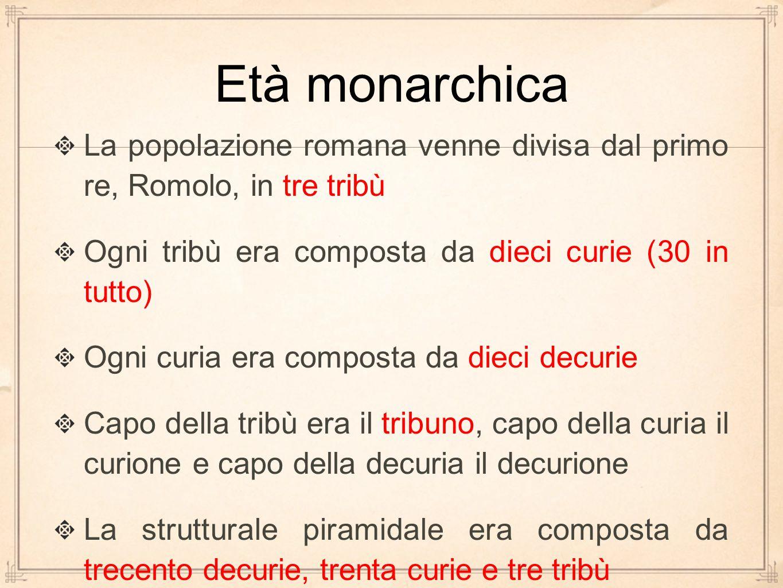 Età monarchica La popolazione romana venne divisa dal primo re, Romolo, in tre tribù. Ogni tribù era composta da dieci curie (30 in tutto)