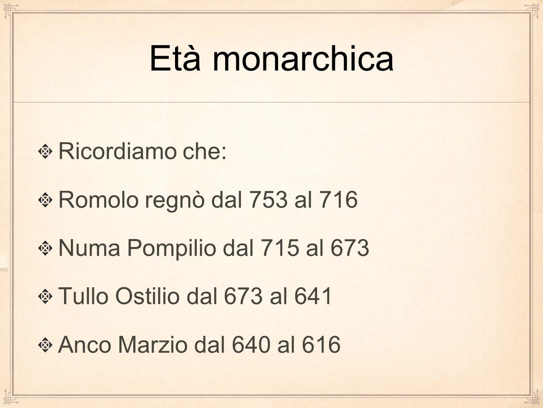 Età monarchica Ricordiamo che: Romolo regnò dal 753 al 716