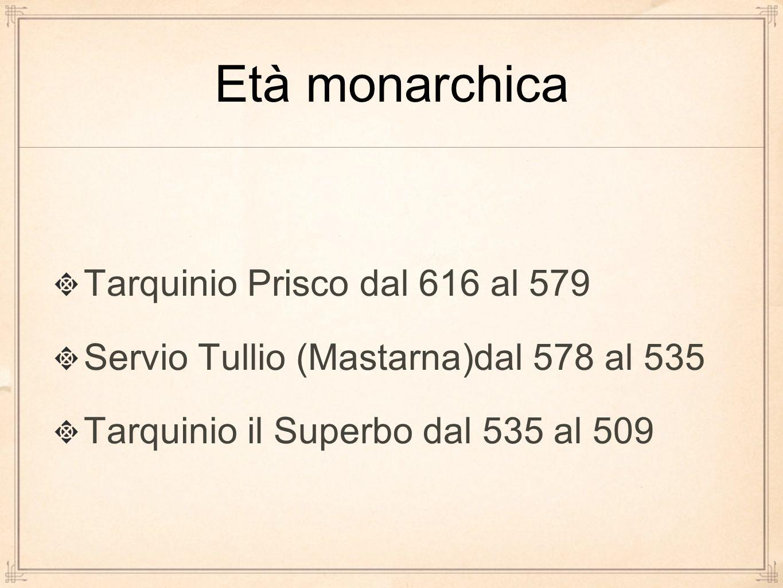 Età monarchica Tarquinio Prisco dal 616 al 579
