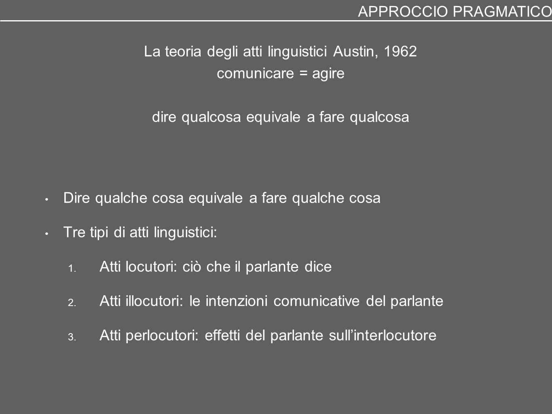 APPROCCIO PRAGMATICO La teoria degli atti linguistici Austin, 1962 comunicare = agire dire qualcosa equivale a fare qualcosa.