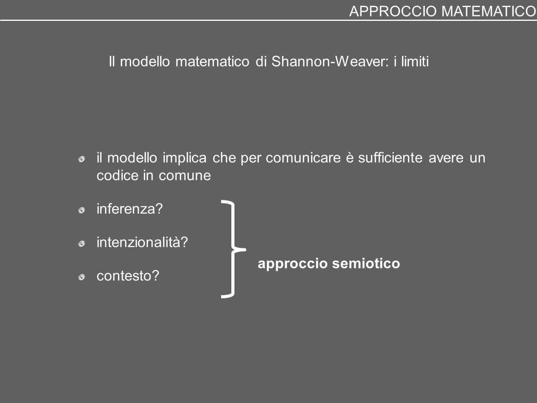 Il modello matematico di Shannon-Weaver: i limiti