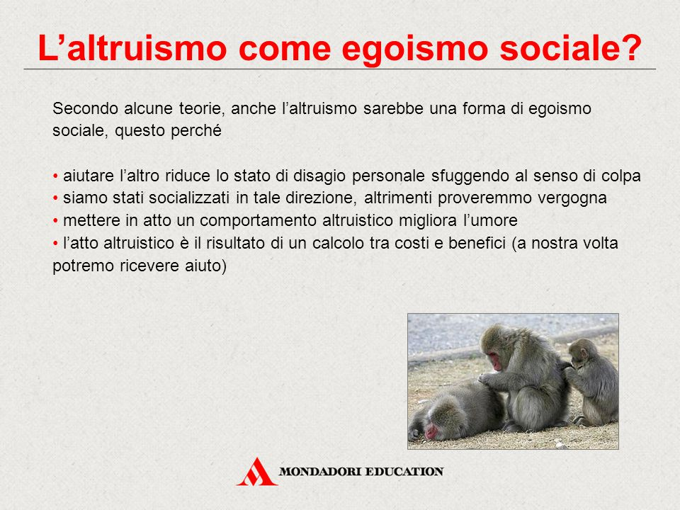 L'altruismo come egoismo sociale