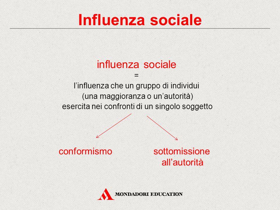 Influenza sociale influenza sociale conformismo sottomissione