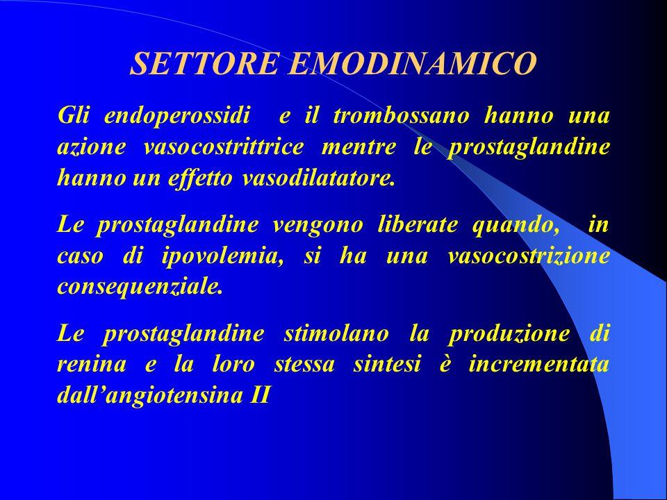 SETTORE EMODINAMICO Gli endoperossidi e il trombossano hanno una azione vasocostrittrice mentre le prostaglandine hanno un effetto vasodilatatore.