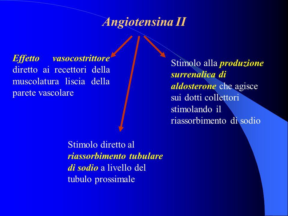 Angiotensina II Effetto vasocostrittore diretto ai recettori della muscolatura liscia della parete vascolare.