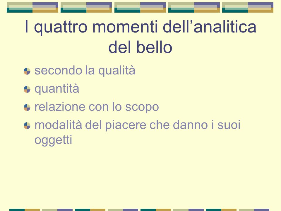 I quattro momenti dell'analitica del bello
