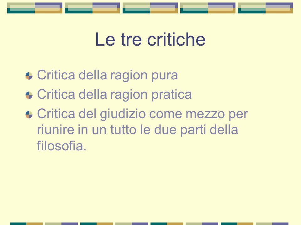 Le tre critiche Critica della ragion pura Critica della ragion pratica
