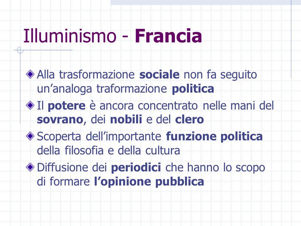 Illuminismo - Francia Alla trasformazione sociale non fa seguito un'analoga traformazione politica.