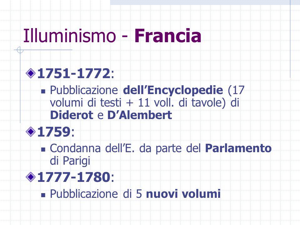 Illuminismo - Francia 1751-1772: 1759: 1777-1780: