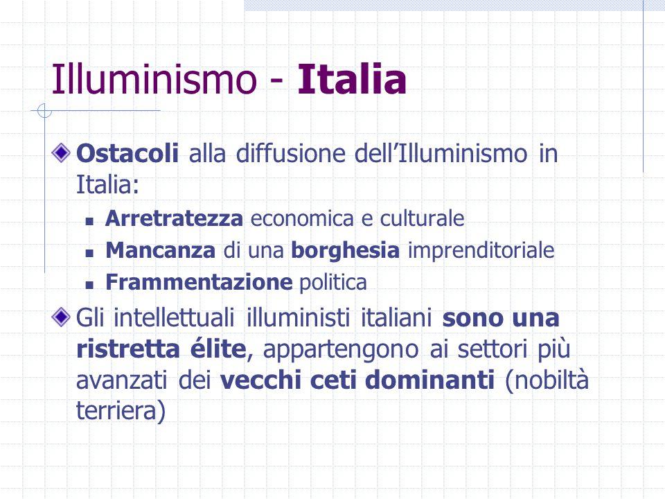 Illuminismo - Italia Ostacoli alla diffusione dell'Illuminismo in Italia: Arretratezza economica e culturale.