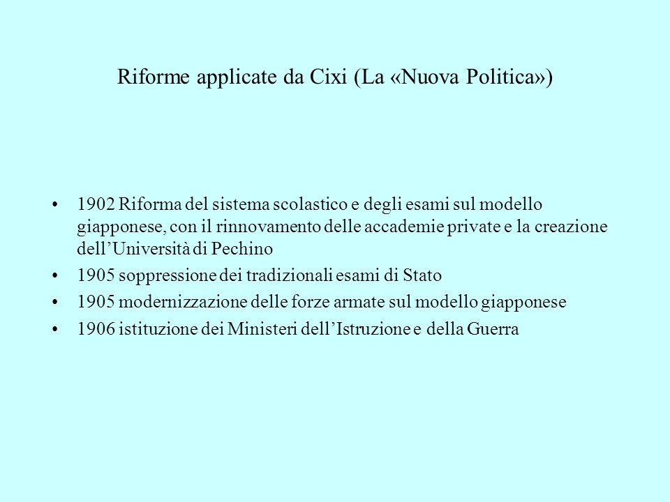 Riforme applicate da Cixi (La «Nuova Politica»)