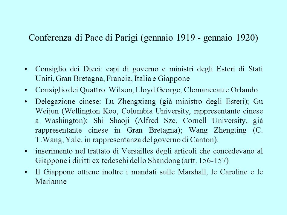 Conferenza di Pace di Parigi (gennaio 1919 - gennaio 1920)