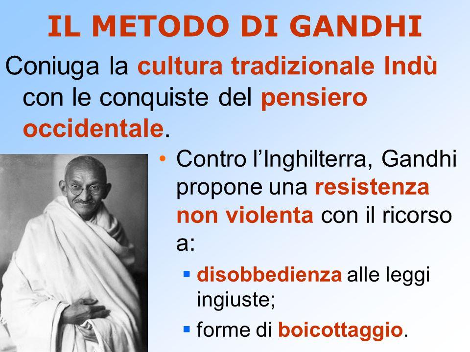 IL METODO DI GANDHI Coniuga la cultura tradizionale Indù con le conquiste del pensiero occidentale.