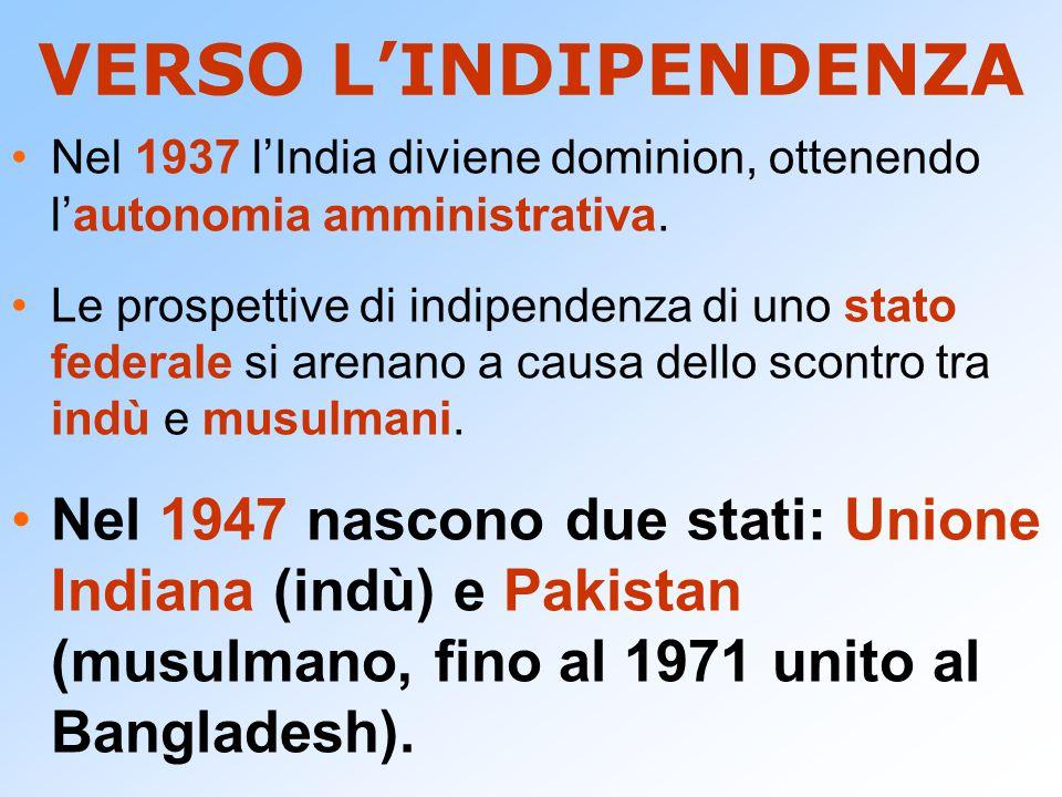 VERSO L'INDIPENDENZA Nel 1937 l'India diviene dominion, ottenendo l'autonomia amministrativa.