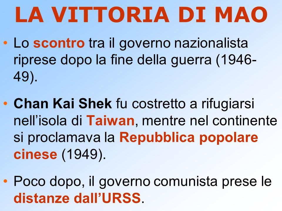 LA VITTORIA DI MAO Lo scontro tra il governo nazionalista riprese dopo la fine della guerra (1946-49).