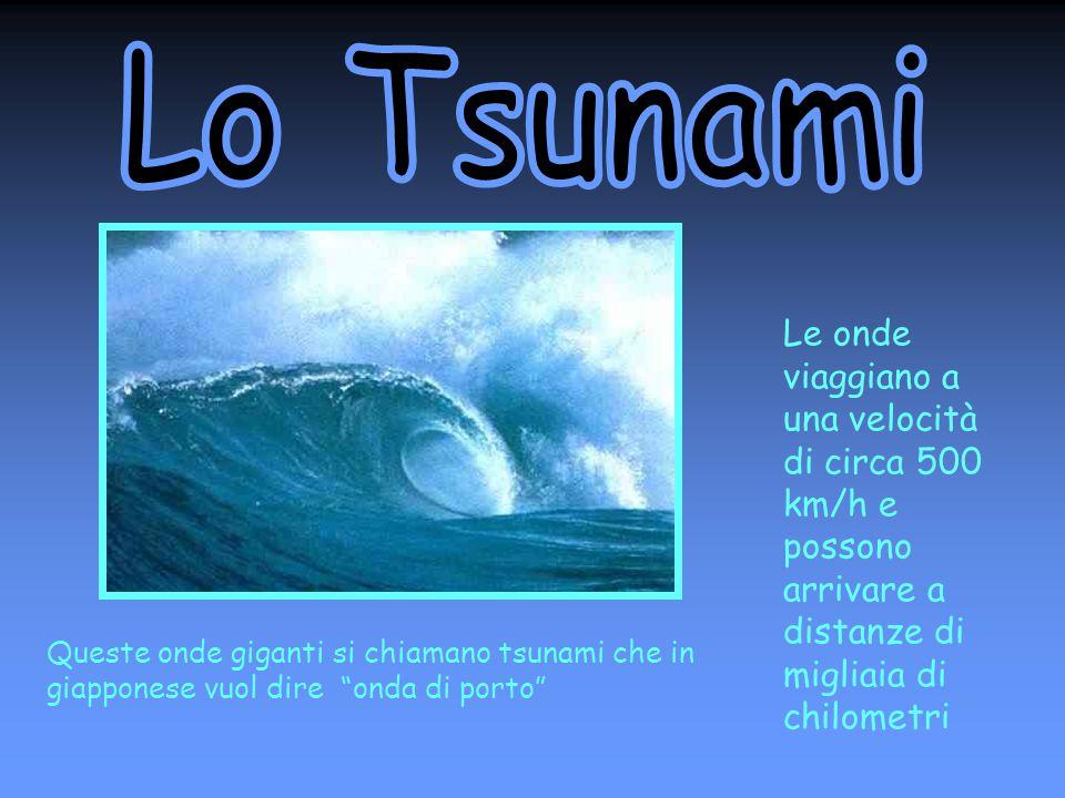 Lo Tsunami Le onde viaggiano a una velocità di circa 500 km/h e possono arrivare a distanze di migliaia di chilometri.