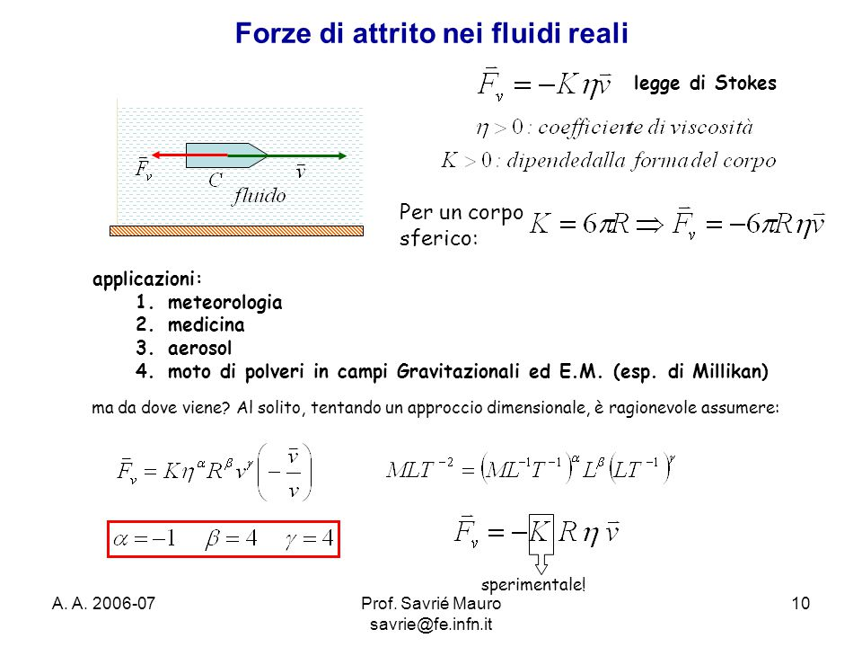 Forze di attrito nei fluidi reali