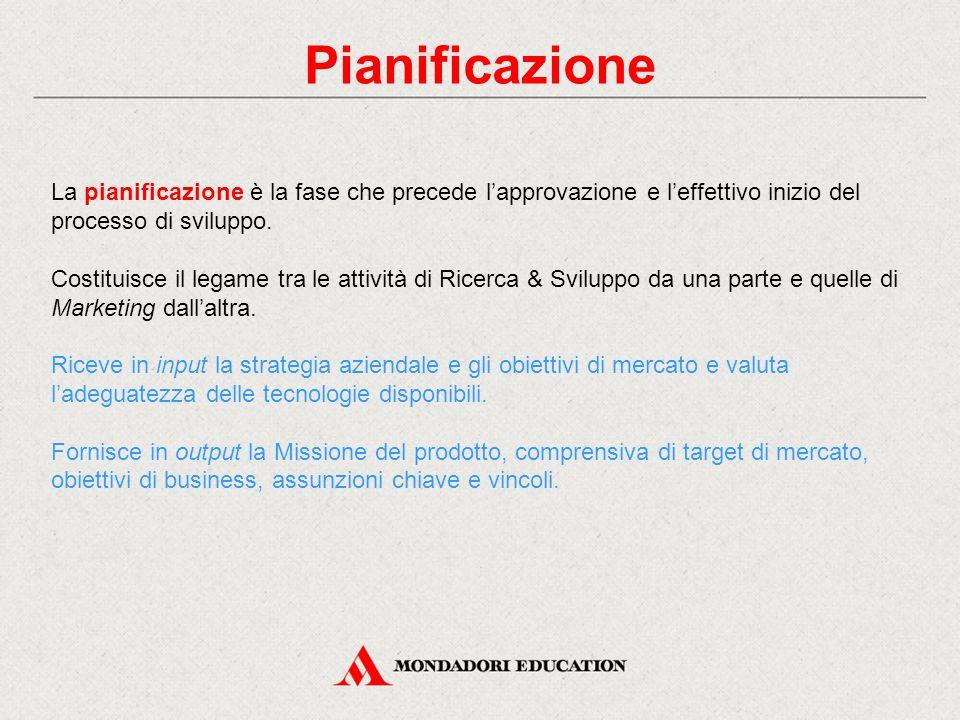 Pianificazione La pianificazione è la fase che precede l'approvazione e l'effettivo inizio del processo di sviluppo.