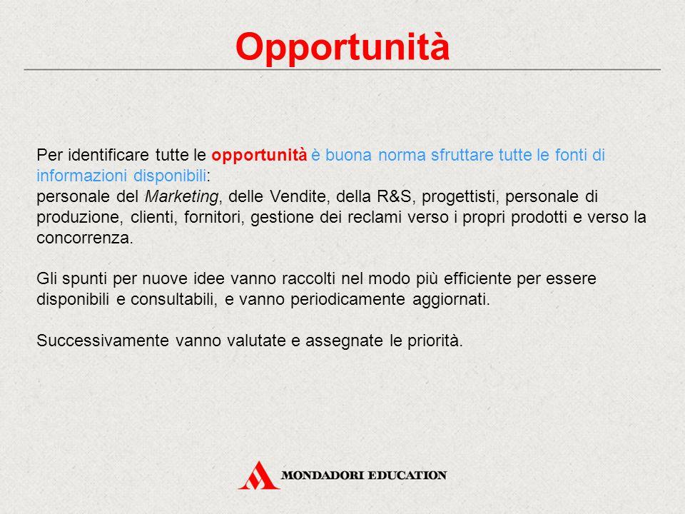 Opportunità Per identificare tutte le opportunità è buona norma sfruttare tutte le fonti di informazioni disponibili: