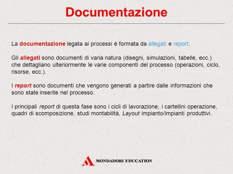 Documentazione La documentazione legata ai processi è formata da allegati e report.