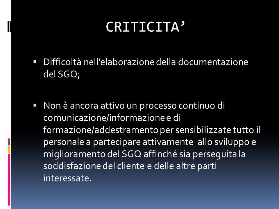 CRITICITA' Difficoltà nell'elaborazione della documentazione del SGQ;