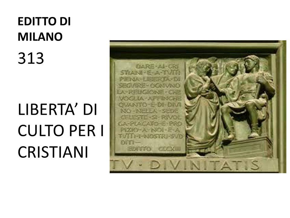 LIBERTA' DI CULTO PER I CRISTIANI