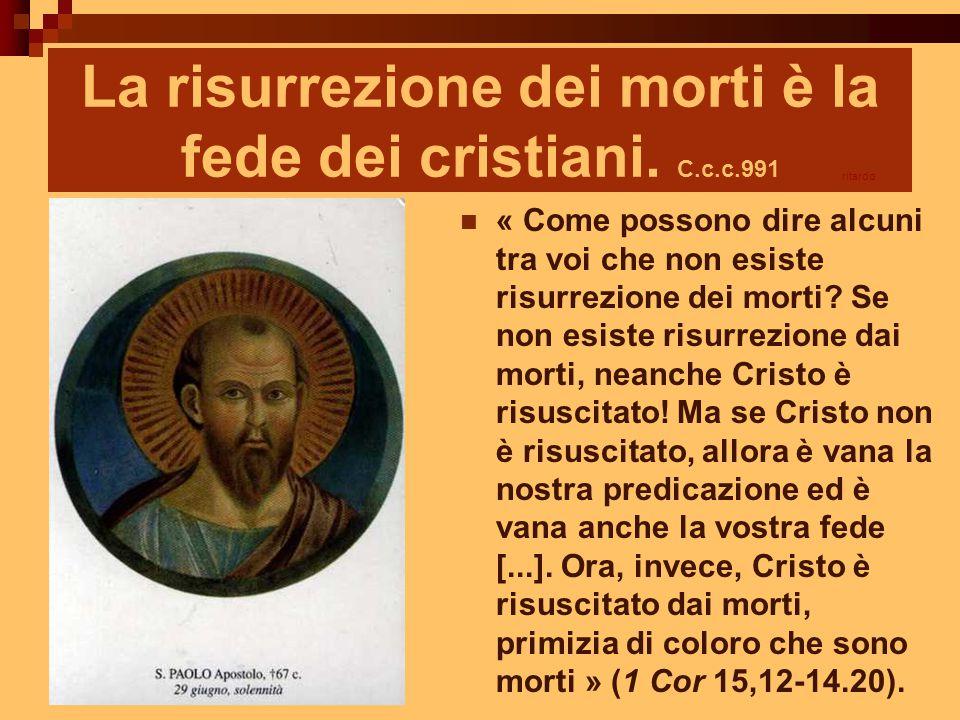 La risurrezione dei morti è la fede dei cristiani. C.c.c.991
