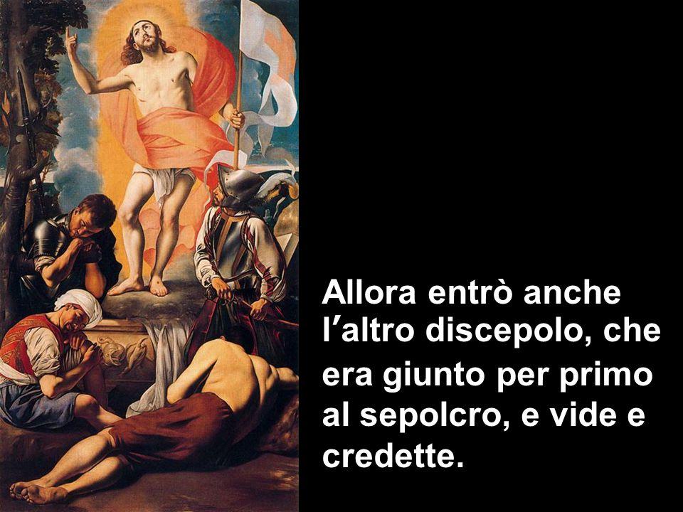 Allora entrò anche l'altro discepolo, che era giunto per primo al sepolcro, e vide e credette.