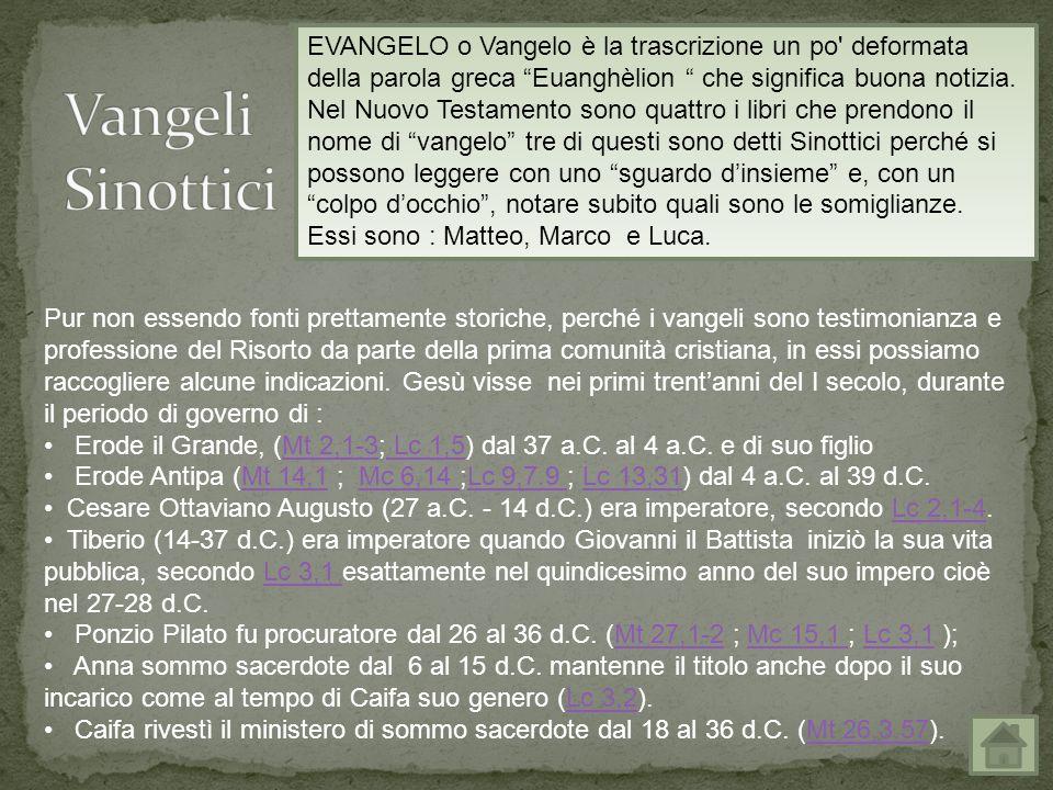 Vangeli Sinottici EVANGELO o Vangelo è la trascrizione un po deformata della parola greca Euanghèlion che significa buona notizia.