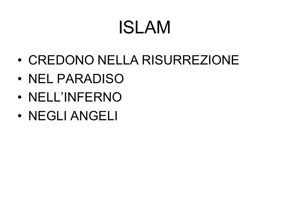 ISLAM CREDONO NELLA RISURREZIONE NEL PARADISO NELL'INFERNO