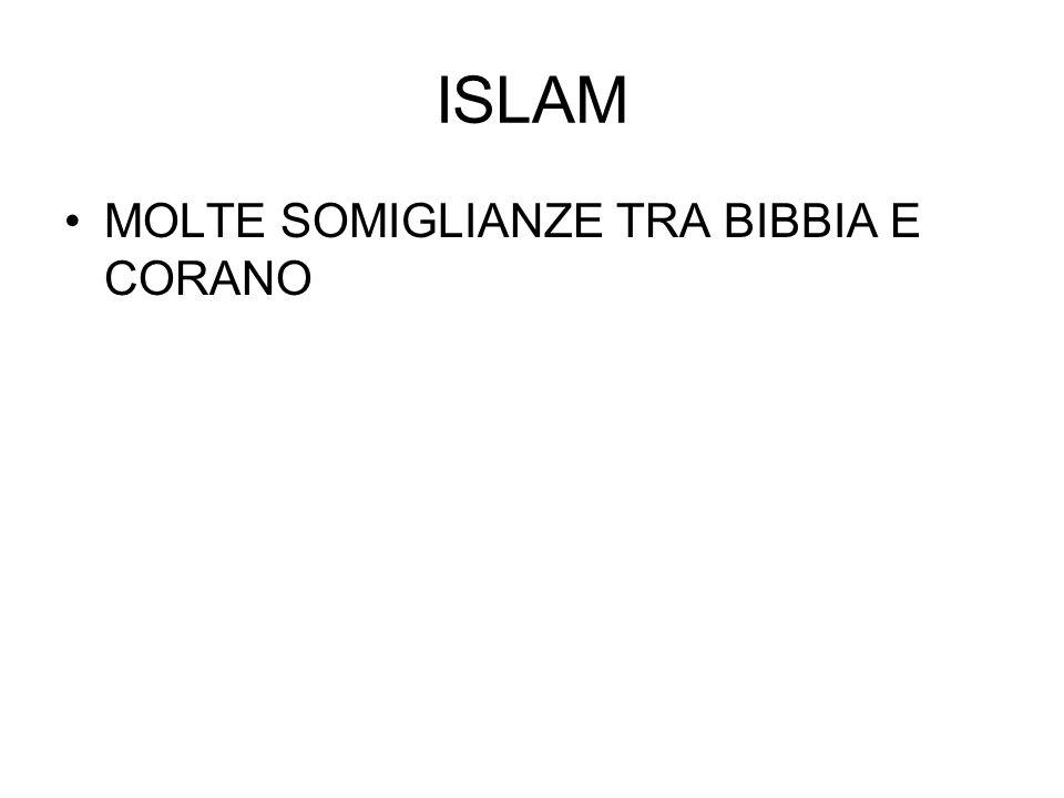 ISLAM MOLTE SOMIGLIANZE TRA BIBBIA E CORANO
