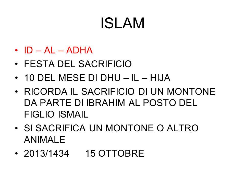 ISLAM ID – AL – ADHA FESTA DEL SACRIFICIO