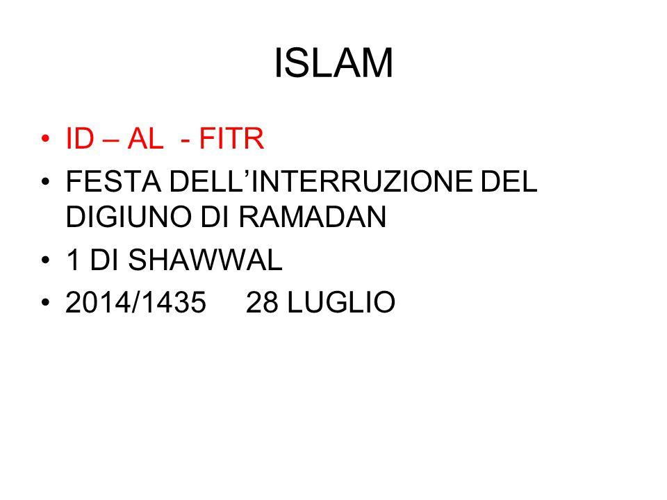 ISLAM ID – AL - FITR FESTA DELL'INTERRUZIONE DEL DIGIUNO DI RAMADAN