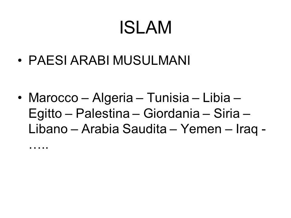 ISLAM PAESI ARABI MUSULMANI