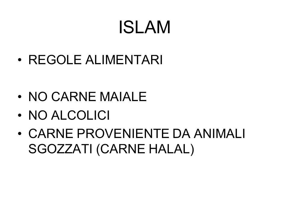 ISLAM REGOLE ALIMENTARI NO CARNE MAIALE NO ALCOLICI