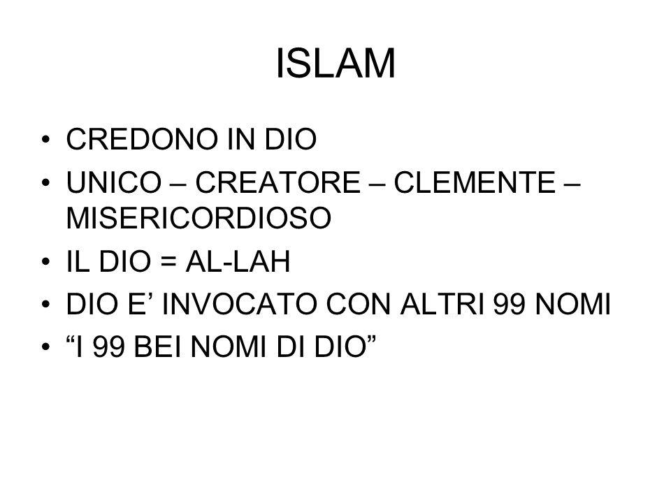 ISLAM CREDONO IN DIO UNICO – CREATORE – CLEMENTE – MISERICORDIOSO