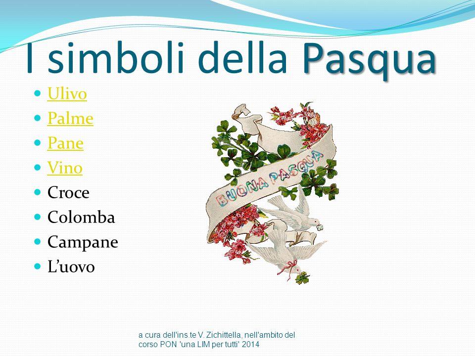 I simboli della Pasqua Ulivo Palme Pane Vino Croce Colomba Campane