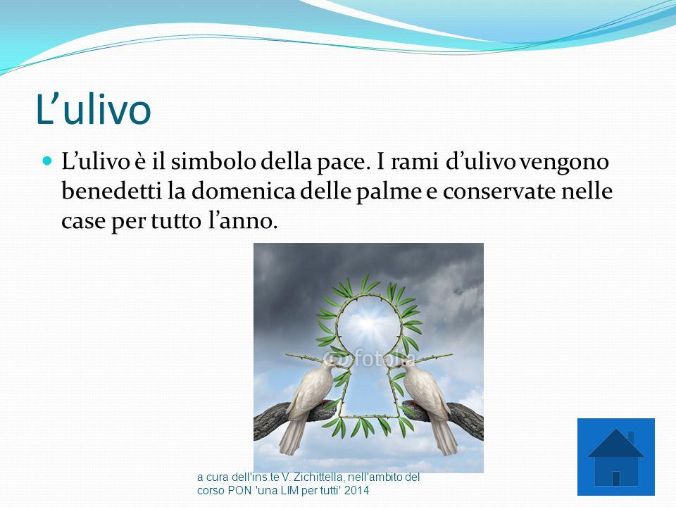 L'ulivo L'ulivo è il simbolo della pace. I rami d'ulivo vengono benedetti la domenica delle palme e conservate nelle case per tutto l'anno.